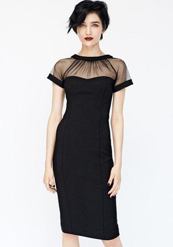Black Patchwork Grenadine Pleated V-Back Neck Short Sleeve Dress