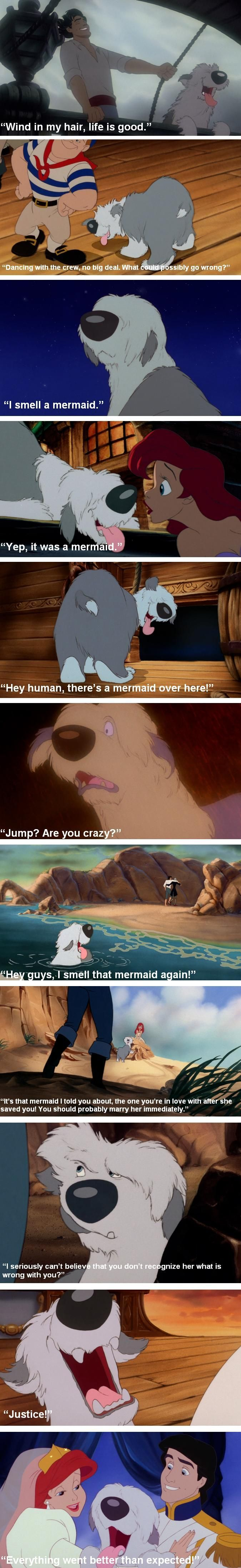 You ever notice how Max, Prince Eric's dog from The Little Mermaid, kind of knows what is going on more than Prince Eric does? He's pretty observant for a dog.