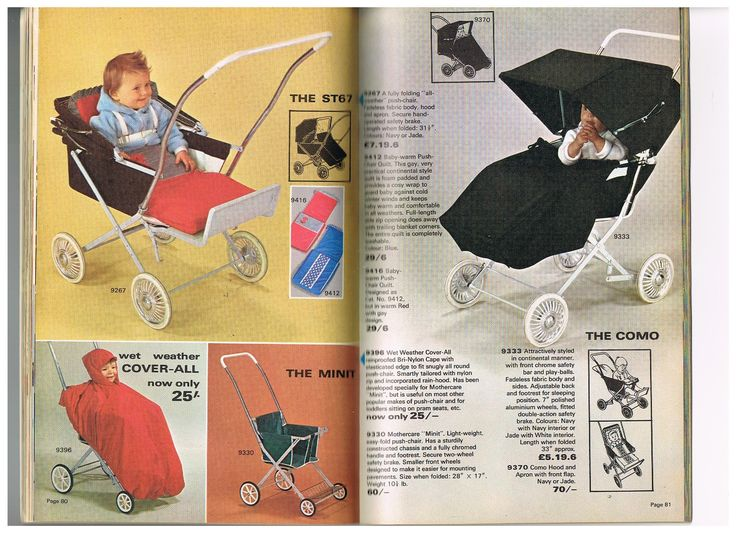 Vintage prams and pushchairs from the Mothercare 1967 catalogue