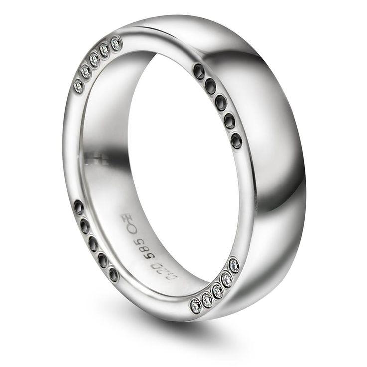 Giftering med diamant til mann 6mm glatt ring,  hvitt gull. med diamant W/S