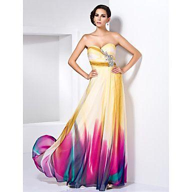 vaina / columna cariño palabra de longitud vestido de noche de gasa con detalles de cristal – USD $ 249.99