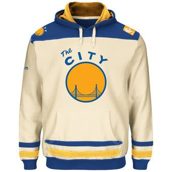 Men's Golden State Warriors Majestic Natural/Gold Hardwood Classics Double Minor Pullover Hoodie