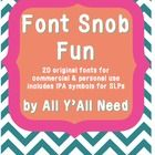 20 original fonts for commercial and personal use, including IPA symbols for SLPs for each font!    Content is in a zipped file.   Please make sure yo...
