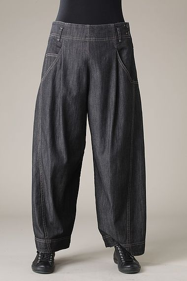 """Garment Inspiration: """"Trousers Yamila wash,"""" extra-wide, summer-weight stretch denim women's pants from OSKA blackheath (Product #12051150233, £195 as of Dec. 2013). Trousers have a two button and zipper closure on the left side and jeans-styled five pockets and belt loops. Slightly tapered ankles make these reminiscent of pantaloons or long plus-fours. I'd like to see these in a silk-blend twill; something soft, but with a good drape and a little sheen."""