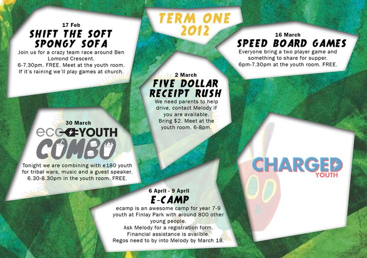 Term Planner. Fun Youth Group Events. Intermediates, Junior High, Middle School.