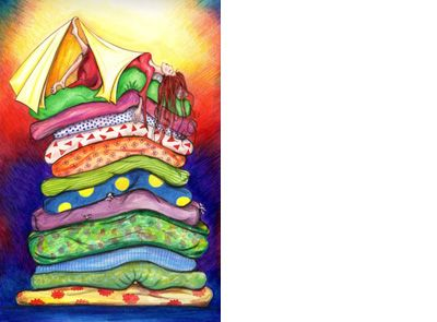 Signed limited edition print 'Princess and the Pea' by Michele Dodd. Available at Books Illustrated.  http://www.booksillustrated.com.au/bi_prints_indiv.php?id=56&image_id=309
