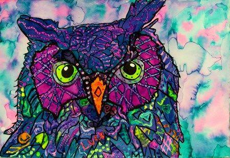 Doodle Animal Portraits in Liquid Watercolor - Conway High School Art Project