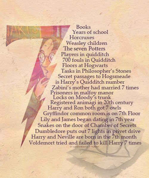 Harry Potter is even more clever than we thought!!  Speaking of numbers, seven is a fairly important one in the Harry Potter series.