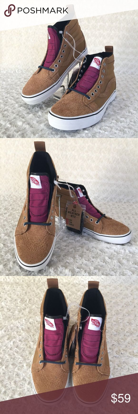 """Vans Off The Wall Ski 8 Hi Top Unisex Shoes Very rare and hard to find color in Golden Brown and pink colorway combination Vans Off The Wall Ski 8 Hi Tops Unisex Shoes in Suede Leather Upper, canvass.  Men Size 7.5 / Women 9 US   Style: 721356  MSRP: $74.95  The Sk8-Hi is Vans original out-of-the-box skate performance shoe. These """"Off the Wall"""" kicks have dressed the feet of pro and amateur skaters since 1966 and today's model is just as authentic as the originals. You'll enjoy the perfect…"""