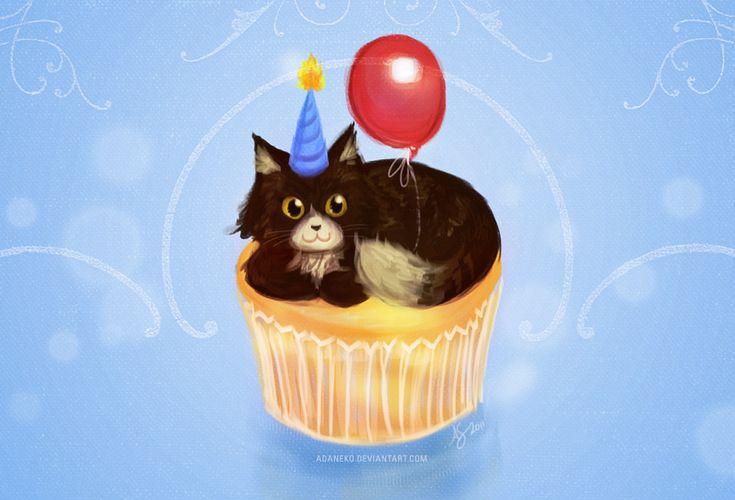 Happy Birthday Cupcake Cat by adaneko.deviantart.com
