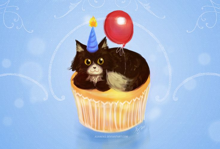 Happy Birthday Cupcake Cat by adaneko.deviantart.com