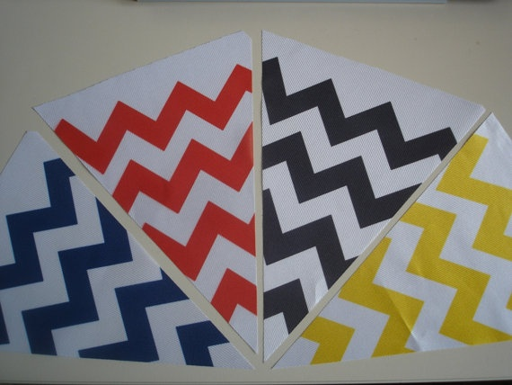 Fabric Bunting Chevron Blue Red Black Yellow and by customflag, $19.00