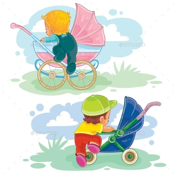 Set Illustrations of Little Kids and Baby Carriage