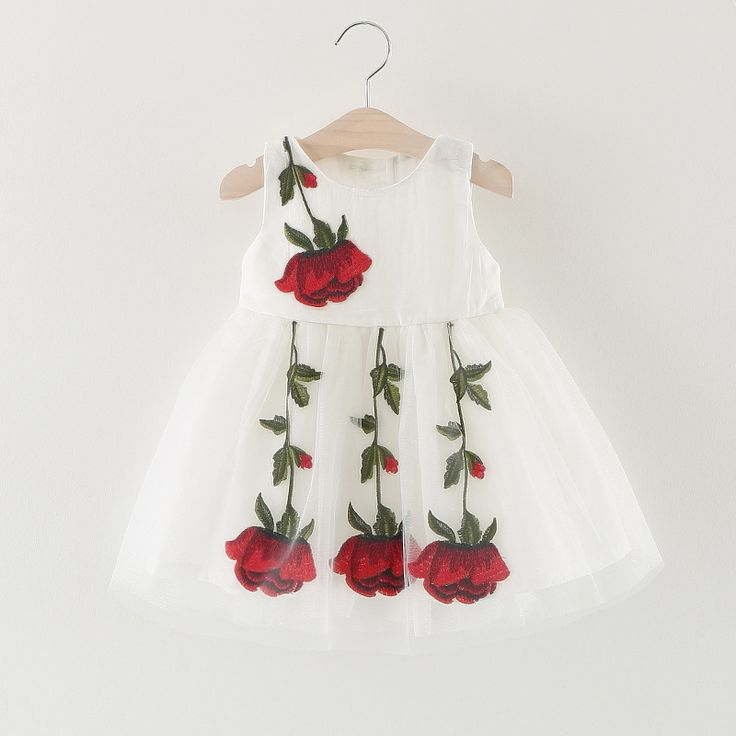 Nacolleo Baby Girls Clothes Toddler Princess Dress Rose Flower Embroidery Kids Vestidos for Party Communion Birthday Infantil