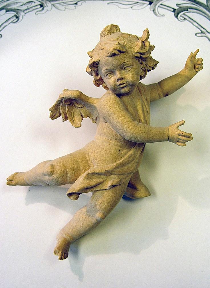 German carved wooden angel