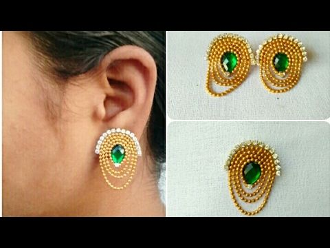 How To Make Designer Earrings // How To Make Bridal Earrings // Paper Jewellery Making //DIY - YouTube