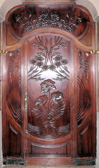 Carved Wood Door - Barcelona - Spain