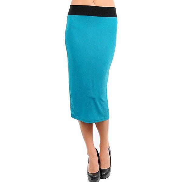 Lange rok van Double Zero uitgevoerd in turquoise en zwart met rits. Gemaakt van 92% polyester en 8% spandex.    http://www.lookinggoodtoday.com/dames-kleding/rokken