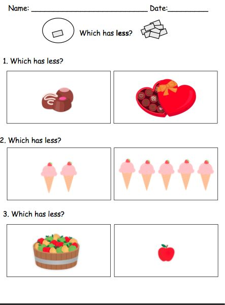 More Less Worksheets Visual Math Tasks By