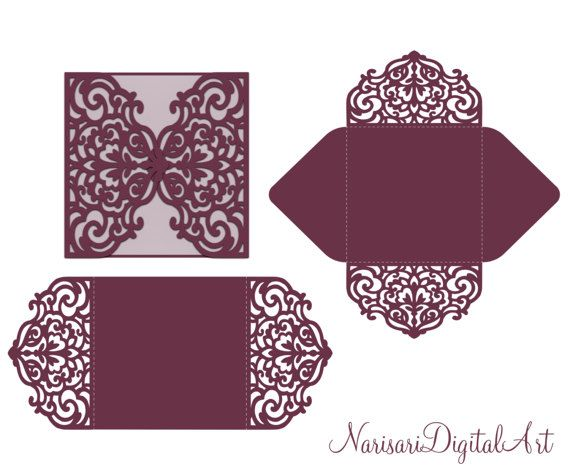 Four-fold envelope laser cut template SVG by NarisariDigitalArt