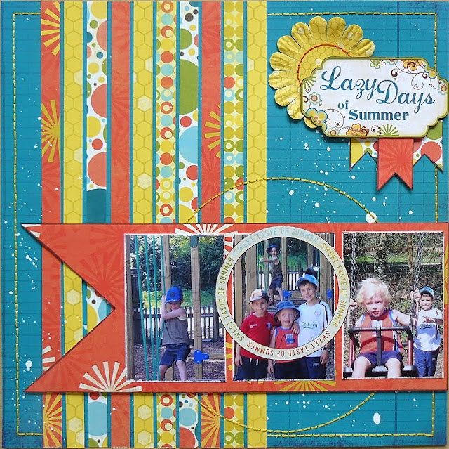 A little bit of Bo Bunny...sewing, Lazy Days Scrapbook Layout