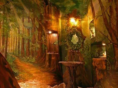 a forest themed bathroom will make you feel like youre wandering the woods of 479