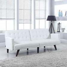 Modern Splitback White Bonded Leather Sleeper Futon Tufted Sofa W/ Armrest