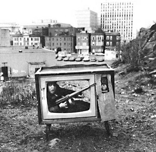 Boy in TV Set, Boston, MA, 1972. Photo by Arthur Tress
