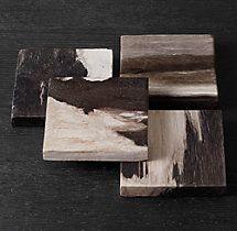 Petrified Wood Coasters Dark, Set of 4