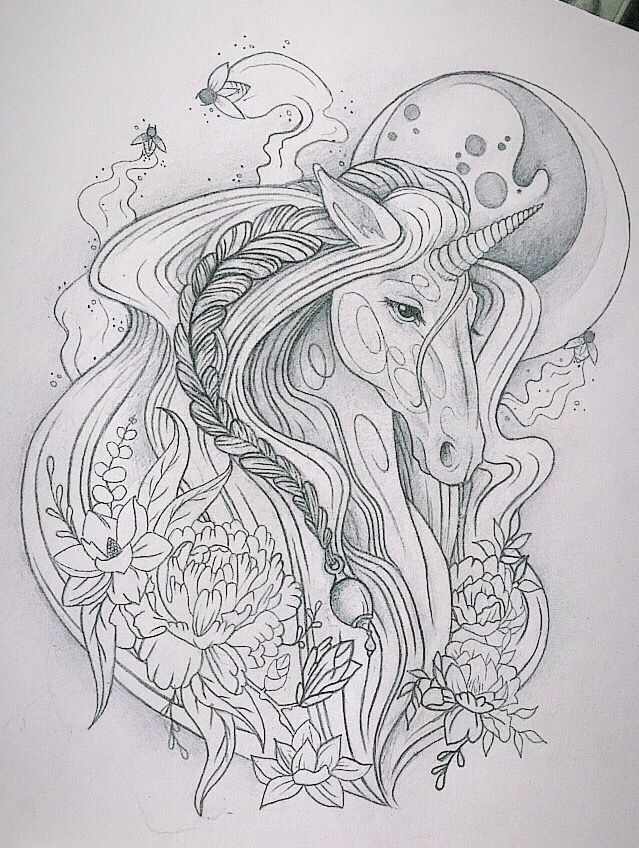 unicorn tattoo design #unicorn #moon #moonunicorn #magical #flowers