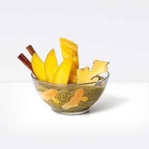 Golden Milk Chia Pudding    organic mango, organic chia, hemp seed, organic turmeric root, cinnamon, organic ginger, cardamom, nutmeg, cloves, pepper