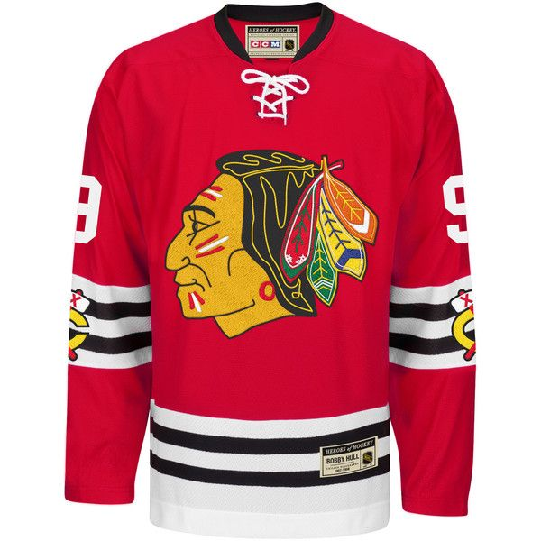 Reebok NHL Chicago Blackhawks Bobby Hull Heroes Of Hockey® Jersey ($185) ❤ liked on Polyvore featuring mens, men's clothing, men's activewear, men's activewear tops, apparel and men