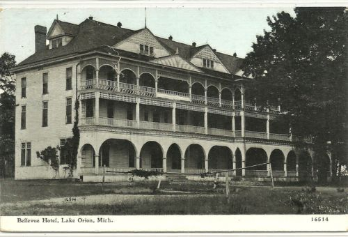 Lake Orion, Michigan - Old Bellevue Hotel on 1912 Pc