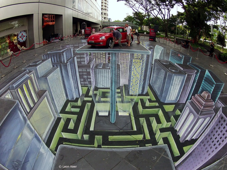 3D street painting in Singapore  150 m2, painted with acrylics directly on the street by Leon Keer, Ruben Poncia and Remko van Schaik. Commissioned by DBS, organized by Division Communications.