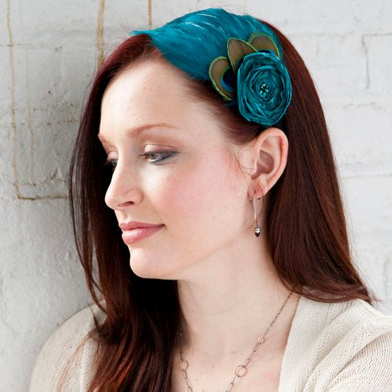 Peacock Blue Feather Headband with flower  Made by designbynight, $25.00