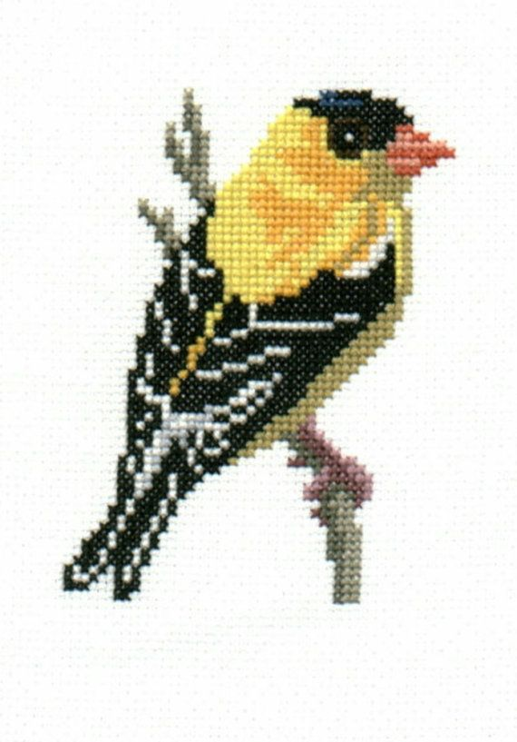Goldfinch counted crossstitch chart by 5PrickedFinger5 on Etsy, $3.00