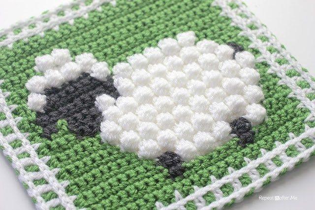 Crochet Bobble Stitch Sheep Square  (s)- Repeat Crafter Me