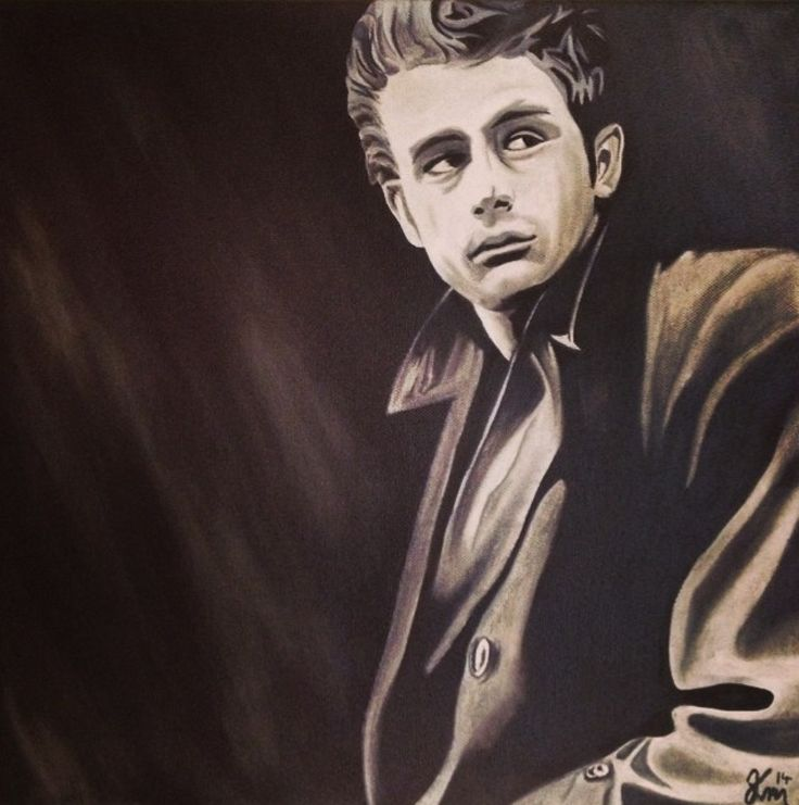 Oil painting of James Dean, 40x 40 cm, 2014 Mirjam Kämmerer
