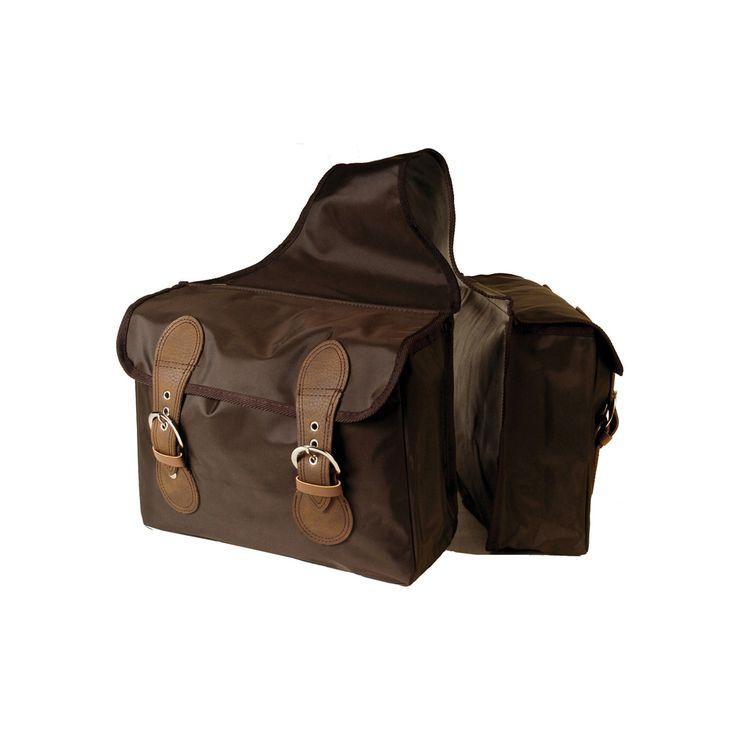 Bisaccia Umbria Equitazione posteriore in nylon a due tasche con chiusure in cuoio.