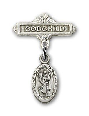 ReligiousObsession's Sterling Silver Baby Badge with St. Christopher Charm and Godchild Badge Pin >>> You can get additional details at the image link. (This is an Amazon Affiliate link and I receive a commission for the sales)