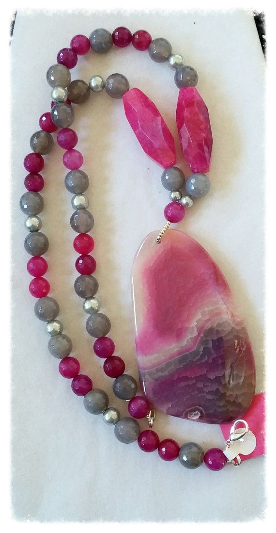 Brilliant Pink Chunky Agate Pendant by GemsbyJoniH on Etsy