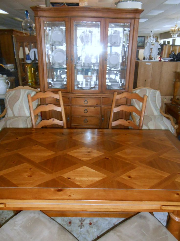 Refectory Farm Table And 6 Chairs Plus China Cabinet
