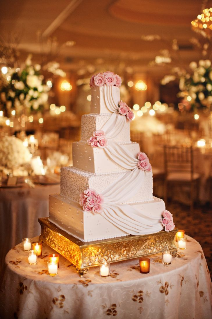 Elegant Square Buttercream Wedding Cake with Flowers | https://www.theknot.com/real-weddings/a-timeless-wedding-in-huntington-ny-album