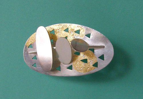 Eila Minkkinen ~Moonbridge, silver and gold leaf #brooch, 2010.