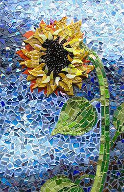 Incredible sunflower #mosaic                                       #mosaicflowers #mosaicart
