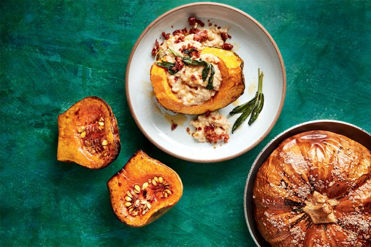 Risotto-stuffed squash with Parmesan and pancetta | Woolworths TASTE