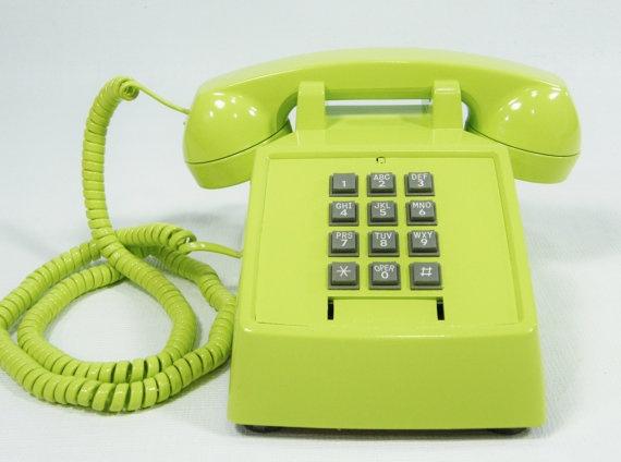 Vintage Phone Lime Green