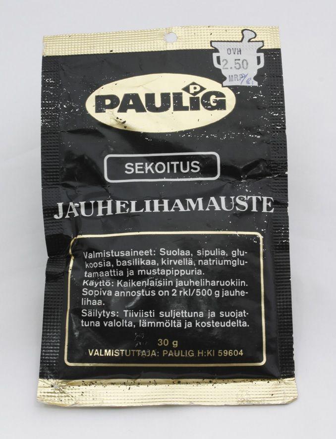 Jauhelihamaustepussi 80-luvulta. Mukana reilusti natriumglutamaattia! #kadonnutkasari #kasari