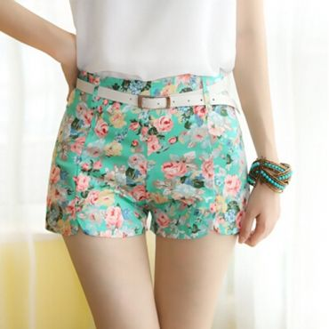 Cheap Lovely Floral Print Button Fly  Green Cotton Mid Regular Shorts