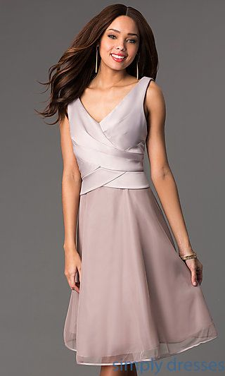 V-Neck Knee Length Sleeveless Dress at SimplyDresses.com